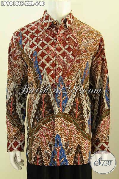 Baju Batik Pria Modern Lengan Panjang Ukuran Jumbo, Hem Batik Cowok Gemuk Mewah Full Furing Motif Klasik, Pilihan Tepat Tampil Berwibawa