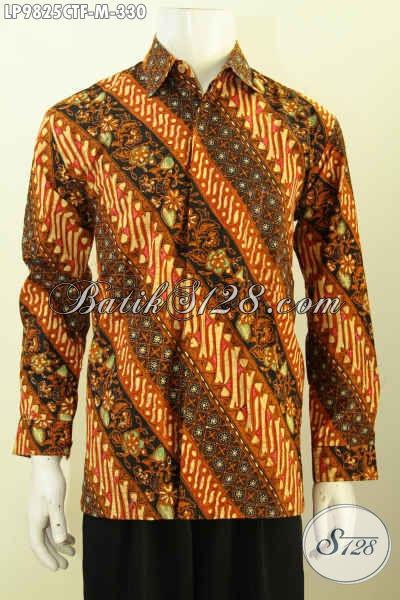 Toko Grosir Eceran Pakaian Batik Online, Sedia Kemeja Lengan Panjang Full Furing Pria Bahan Halus Motif Elegan Cap Tulis Harga 330K, Size M