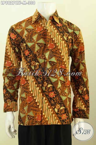 Toko Pakaian Batik Solo Paling Komplit, Sedia Hem Lengan Panjang Full Furing Motif Cap Tulis Kekinian Untuk Tampil Lebih Keren Dan Menawan [LP9827CTF-M]