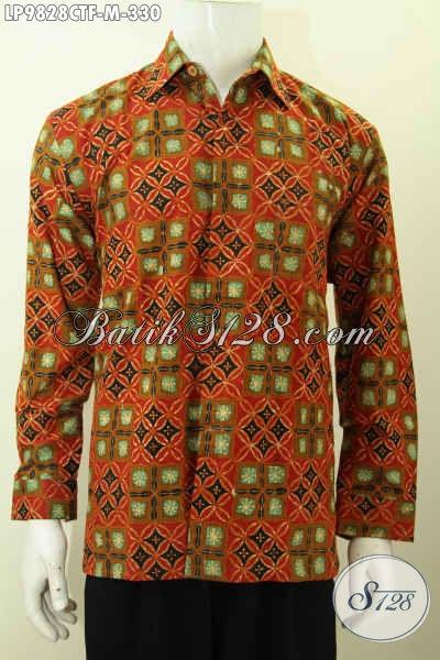 Jual Batik Kemeja Lengan Panjang Desain Motif Klasik Terkini, Baju Batik Elegan Yamng Membuat Pria Terlihat Tampan Mempesona, Size M