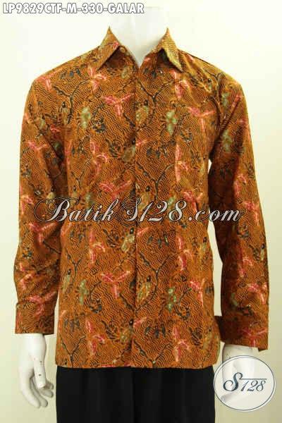 Baju Batik Fashion Untuk Kerja, Kemeja Lengan Panjang Klasik Motif Galar Pake Furing, Bahan Halus Desain Bagus Harga 330K, Size M