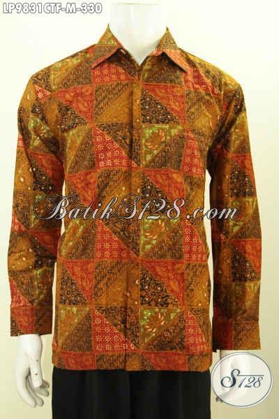 Toko Baju Batik Pria Online, Sedia Kemeja Lengan Panjang Klasik Bahan Adem Proses Cap Tulis Daleman Full Furing Harga 330K, Size M