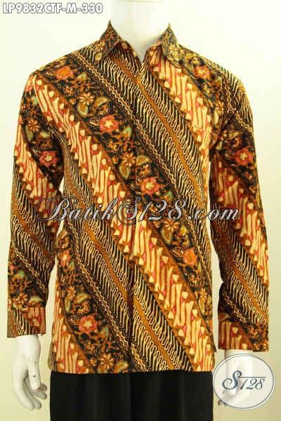 Olshop Baju Batik Solo, Sedia Kemeja Lengan Panjang Mewah, Baju Batik Fashion Pria Terkini Daleman Full Furing Motif Klasik Harga 330 Ribu, Size M