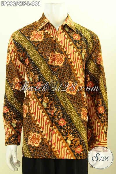 Busana Batik Seragam Kerja Motif Klasik, Baju Batik Mewah Halus Lengan Panjang Pake Furing Proses Cap Tulis Harga 300 Ribuan Saja [LP9835CTF-L]