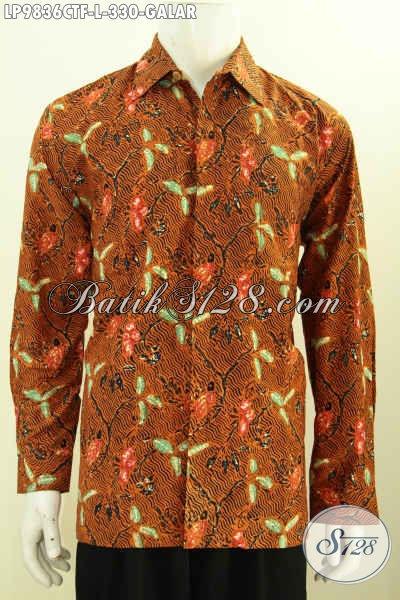 Jual Kemeja Batik Klasik Motif Galar, Hem Batik Elegan Lengan Panjang Full Furing, Pria Tampil Gagah Berkarakter [LP9836CTF-L]