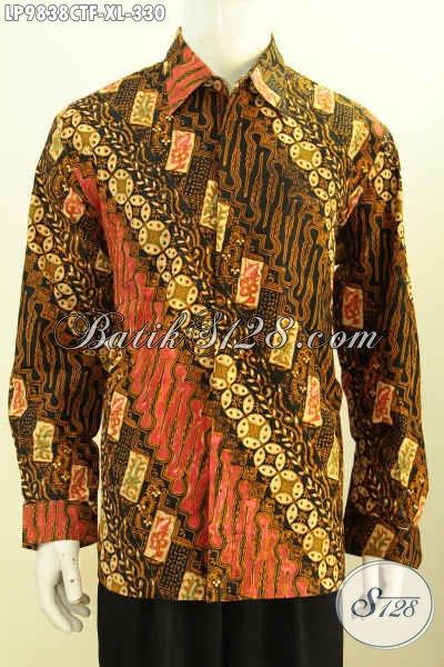 Hem Batik Fashion 2019, Busana Batik Lengan Panjang Klasik Full Furing Proses Cap Tulis Harga 330K [LP9838CTF-XL]