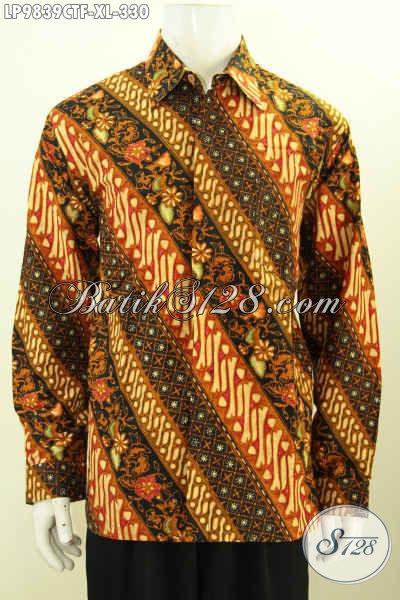 Pakaian Batik Elegan Seragam Kerja Pria Dewasa, Hem Batik Kantor Berkelas Motif Klasik Bahan Halus Proses Cap Tulis Di Lengkapi Furing Lebih Mewah, Size XL Hanya 330K