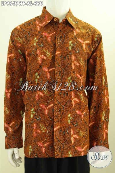 Baju Batik Untuk Tampil Gagah, Kemeja Batik Yang Bikin Pria Terlihat Berwibawa, Model Lengan Panjang Full Furing Motif Klasik Cap Tulis 300 Ribuan Saja, Size XL
