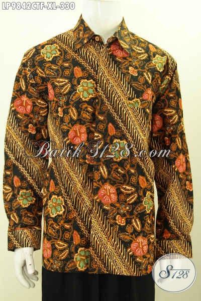 Juragan Batik Online, Sedia Kemeja Lengan Panjang Istimewa Full Furing, Hem Batik Solo Berkelas Motif Klasik Cap Tulis, Penampilan Lebih Sempurna Dan Elegan [LP9842CTF-XL]