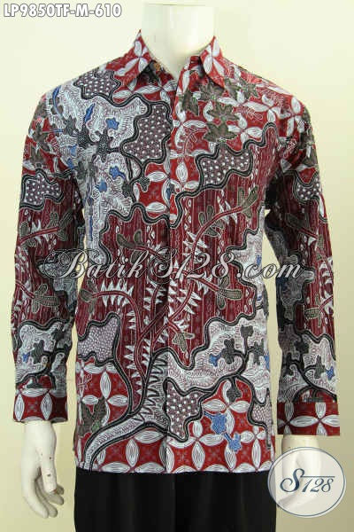 Baju Batik Atasan Pria, Kemeja Lengan Panjang Premium Mewah Halus Bahan Adem Full Furing Motif Klasik Tulis Asli, Tampil Gagah Berwibawa [LP9850TF-M]