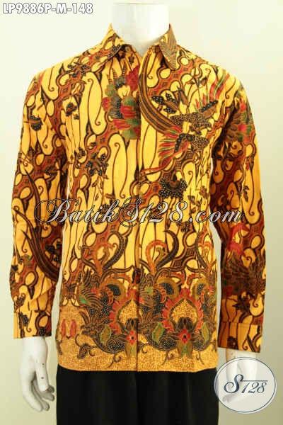 Batik Hem Elegan Lengan Panjang, Busana Batik Solo Halus Motif Klasik Proses Printing, Pas Buat Acara Resmi Hanya 148K