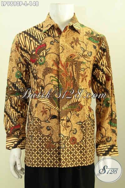 Batik Hem Solo Asli Model Lengan Panjang, Kemeja Batik Elegan Klasik Proses Printing Yang Membuat Pria Terlihat Gagah Dan Tampan Maksimal [LP9890P-L]
