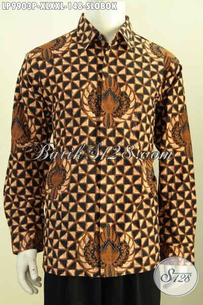 Batik Hem Halus Lengan Panjang, Kemeja Batik Solo Elegan Halus Proses Printing Motif Slobok, Di Jual Online 148K, Size XL – XXL