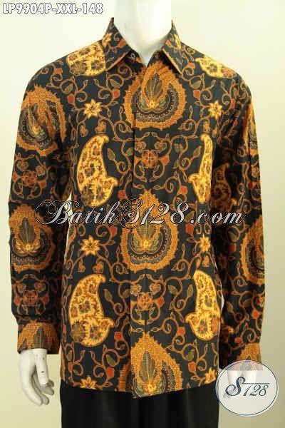 Batik Hem Solo Istimewa Lengan Panjang Istimewa, Pakaian Batik Berkelas Proses Printing Motif Bagus Spesial Untuk Lelaki Gemuk, Size XXL