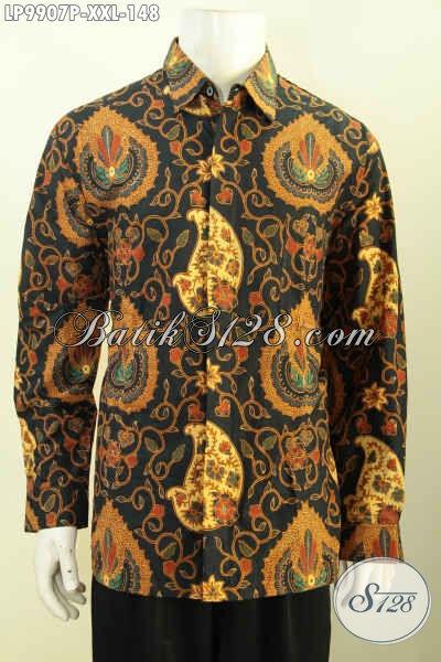 Baju Batik Elegan Mewah Lenagn Panjang Size XXL, Produk Kemeja Batik Solo Istimewa Untuk Rapat Dan Kerja