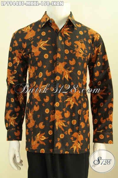 Busana Batik Trendy Motif Ikan, Kemeja Batik Solo Lengan Panjang Kombinasi Tulis, Pria Tampil Gagah Dan Ganteng Maksimal [LP9944BT-M , XXL]