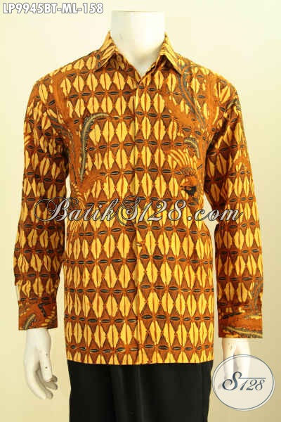 Batik Hem Kombinasi Tulis Lengan Panjang, Baju Batik Istimewa Bahan Adem Motif Klasik Harga 158K [LP9945BT-M , L]