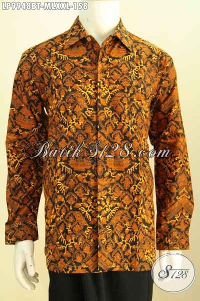 Baju Batik Hem Lengan Panjang Elegan Motif Klasik Kombinasi Tulis Kwalitas Halus Hanya 158K, Size L
