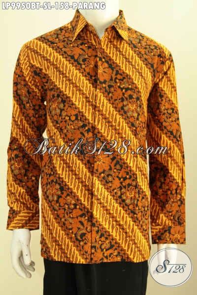 Baju Kemeja Elegan Buatan Solo, Pakaian Batik Halus Lengan Panjang Motif Klasik Parang, Bikin Penampilan Gagah Menawan, Size S – L
