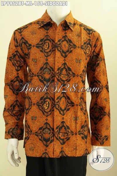Baju Batik Elegan Buat Rapat Dan Berkelas Untuk Acara Resmi, Busana Batik Klasik Motif Sidodadi Proses Kombinasi Tulis Model Lengan Panjang 100 Ribuan, Size L