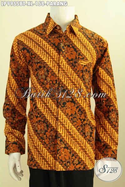 Kemeja Batik Pria Dewasa, Model Terkini Busana Batik Lengan Panjang Solo Motif Klasik Parang Bahan Halus Proses Kombinasi Tulis, Spesial Buat Lelaki Dewasa [LP9955BT-XL]