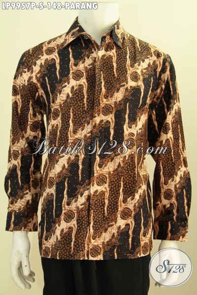 Batik Hem Pria Lengan Panjang Motif Parang Proses Printing, Kemeja Batik Solo Istimewa Yang Membuat Penampilan Gagah Menawan, Size S