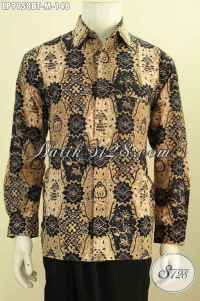 Pakaian Batik Pria Modern Motif Klasik, Hem Batik Elegan Motif Klasik Bahan Adem Proses Kombinasi Tulis, Bisa Buat Ke Kantor Dan Kondangan [LP9958BT-M]