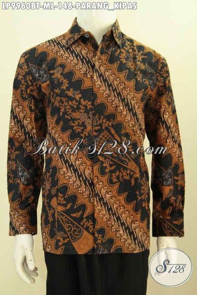 Baju Kemeja Batik Elegan Berkelas Proses Printing, Hem Batik Halus Lengan Panjang Non Furing Motif Paran Kipas Hanya 148K, Size M – L