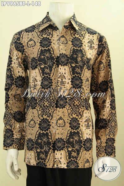 Jual Online Kemeja Batik Pria Lengan Panjang Elegan Dan Halus, Pakaian Batik Istimewa Untuk Pria Tampil Gagah Mempesona Hanya 148K, Size L