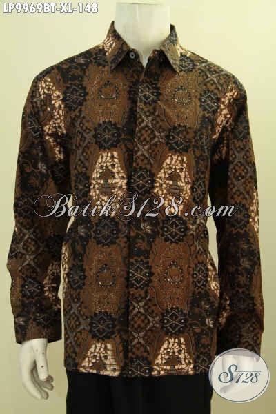 Batik Kemeja Solo Elegan Buat Lelaki Dewasa, Baju Batik Solo Jawa Tengah Nan Istimewa Lengan Panjang Bahan Adem Motif Bagus Harga 148K, Size XL
