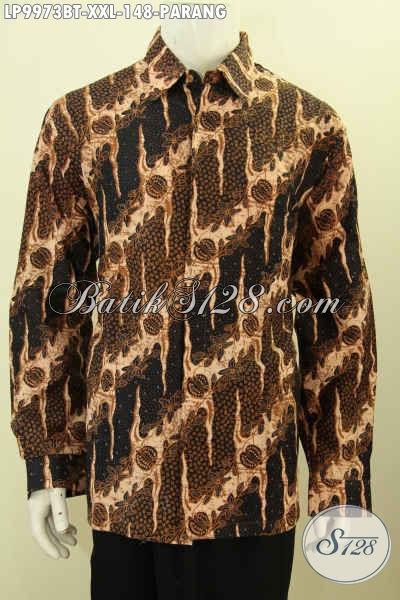 Baju Batik Pria Lengan Panjang Halus Ukuran Jumbo, Hem Batik Pria Gemuk Lengan Panjang Motif Parang  Klasik Pas Buat Kerja Dan Kondangan [LP9973BT-XXL]