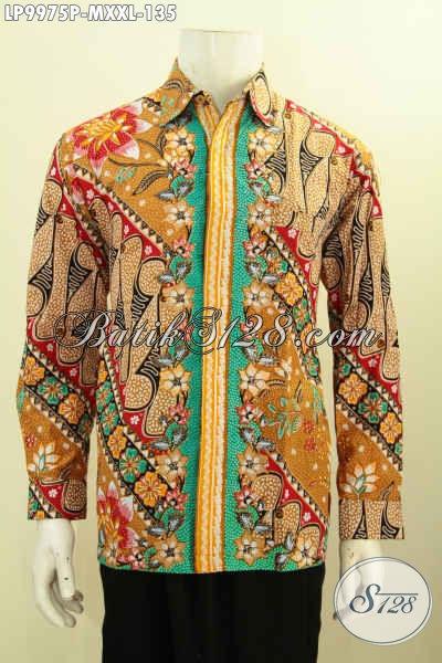 Kemeja Pria Lengan Panjang Motif Mewah Tren Masa Kini, Hem Batik Printing Solo, Size M Harga 135K
