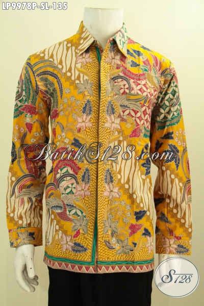 Hem Batik Warna Kuning Motif Mewah, Baju Kemeja Batik Lelaki Terbaru Proses Printing Yang Bikin Penampilan Gagah Berwibawa Hanya 135K, Size S – L