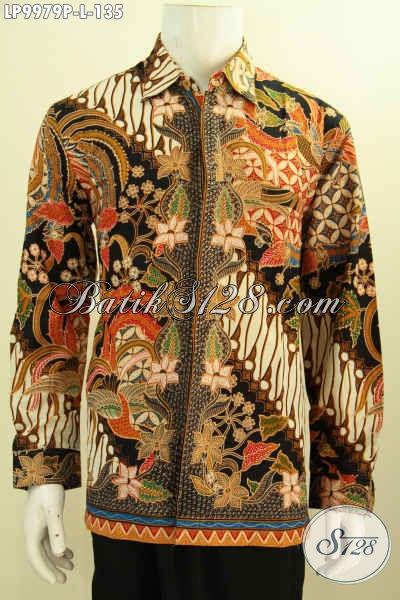 Pakaian Batik Solo Lengan Panjang Istimewa, Toko Baju Batik Online Berkelas Sedia Hem Printing Batik Motif Mewah Hanya 135K, Size L