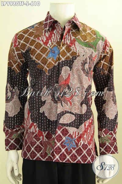 Hem Batik Pria Premium, Kemeja Batik Lengan Panjang Mewah Full Furing Desain Khas Pejabat Harga 610K Bahan Adem Proses Tulis Asli [LP9980TF-S]