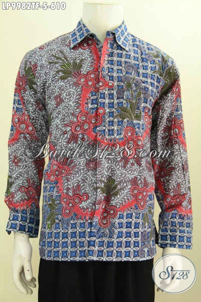 Sedia Baju Batik Kerja Mewah Lengan Panjang Motif Bagus, Hem Batik Tulis Full Furing Asli Buatan Solo Harga 600 Ribuan [LP9982TF-S]