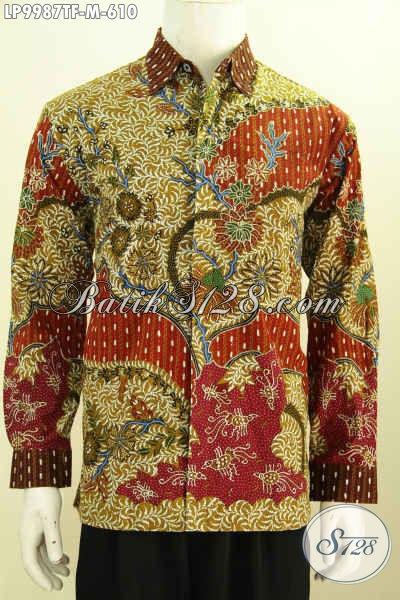 Batik Hem Mewah Halus Lengan Panjang Elegan Proses Tulis, Baju Batik Klasik Full Furing Bahan Adem Nyaman Untuk Seharian, Size M