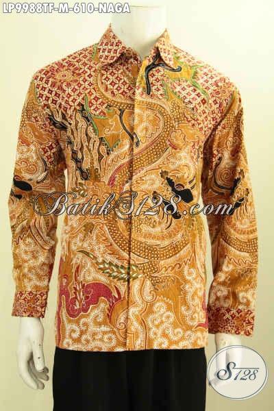 Toko Online Baju Batik Premium, Sedia Kemeja Lengan Panjang Halus Full Furing Motif Naga Warna Bagus Tulis Asli, Cocok Untuk Rapat [LP9988TF-M]