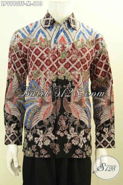Hem Batik Keren Size M, Baju Batik Mewah Pria Muda Full Furing Model Lengan Panjang Bahan Adem Motif Tulis Asli Hanya 600 Ribuan [LP9990TF-M]