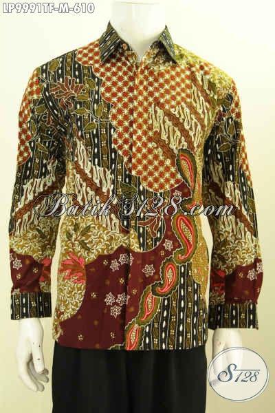 Jual Kemeja Batik Online Mewah Lengan Panjang Pake Furing, Hem Batik Khas Pejabat Untuk Penampilan Gagah Sempurna, Size M
