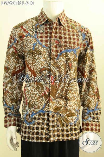 Model Baju Batik Modern Klasik Pria Lengan Panjang, Pakaian Batik Tulis Halus Premium Full Furing Motif Mewah 610K, Size L