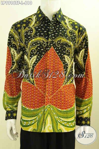 Jual Online Busana Batik Solo Elegan Lengan Panjang Full Furing Mewah Halus Proses Tulis, Istimewa Untuk Tampil Gagah Mempesona, Size L