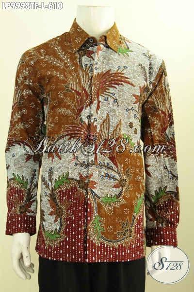 Jual Kemeja Batik Solo Premium, Pakaian Batik Elegan Nan Mewah Lengan Panjang Full Furing Bahan Adem Motif Tulis Asli 600 Ribuan [LP9998TF-L]