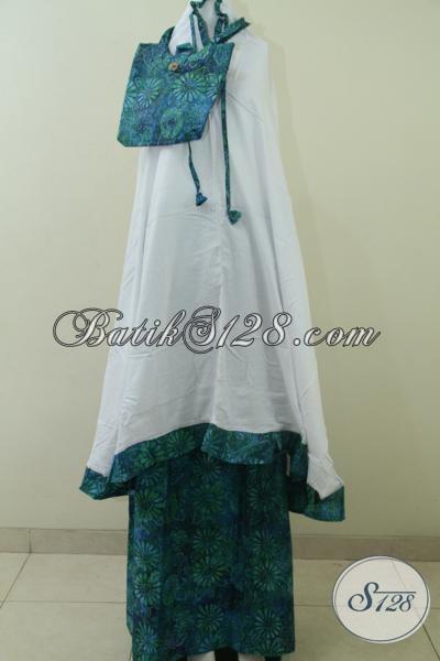 Mukena Batik Solo Warna Biru Ukuran Dewasa Jenis Putusan
