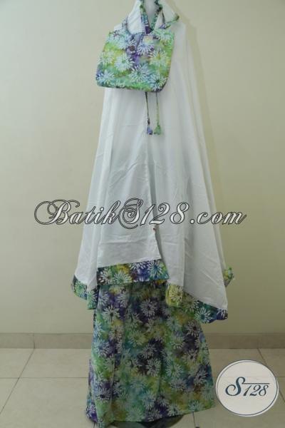 Mukena Batik Gradasi Motif Bunga Proses Cap, Rukuh Batik Trendy Desain Masa Kini Persiapan Ramadhan Dan Idul Fitri [MC072]