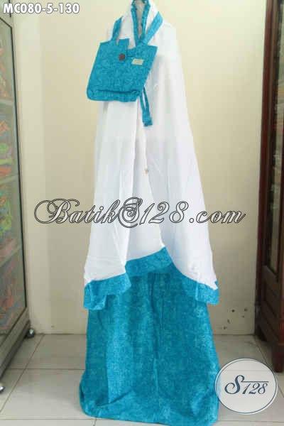 Sedia Mukena Batik Biru, Berbahan Halus Dan Adem Dengan Motif Keren Proses Cap Asli Buatan Solo Harga 130 Ribu Saja [MC080-Dewasa]
