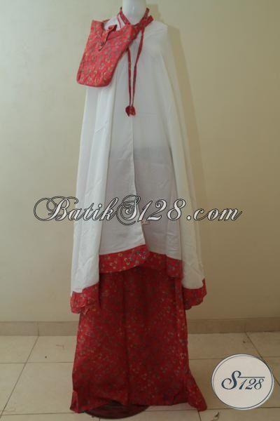 Mukena Batik Merah Motif Keren, Rukuh Batik Dewasa All Size  Berbahan Lembut Dan Adem Proses Cap