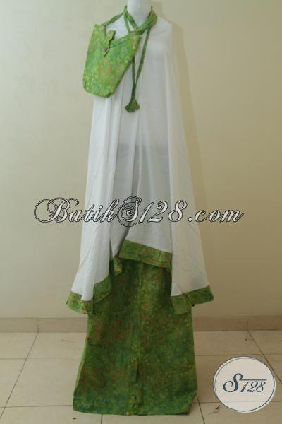 Jual Batik Mukena Ukuran Dewasa, Rukuh Batik Hijau Muda Motif  Unik Dan Keren Kain Adem Dan Lembut Proses Cap