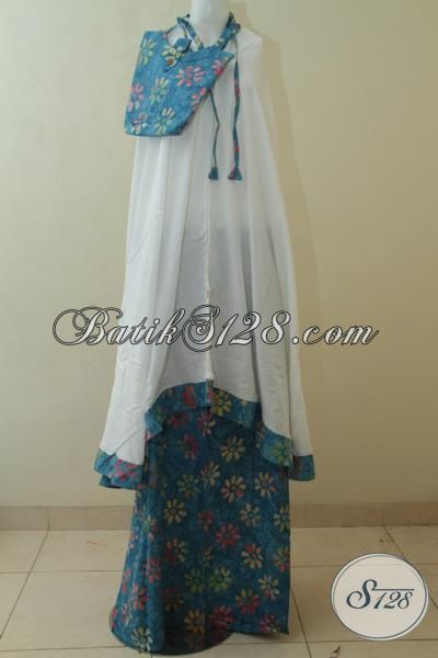 Toko Batik Online Jual Mukena Batik Biru Motif Bunga-Bunga, Rukuh Batik Cap Buatan Solo Lebih Halus Dan Murah DiBanding Yang Lain