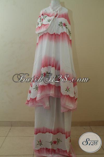 Mukena Batik Istimewa Model Pelangi Atas Bawah, Rukuh Batik Rainbow Pink Kesukaan Remaja Dan Wanita Muda [MR004-All Size]